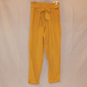 NWT Boutique Yellow Linen Belted Pants Size:S